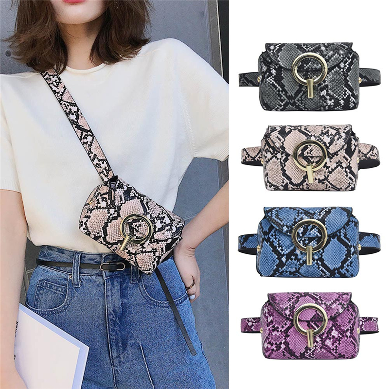 Snake Print Shoulder Messenger Waist Bags Fashion Women Serpentine Fanny Chest Bags Mini Shouder Crossbody Packs For Ladies Lady