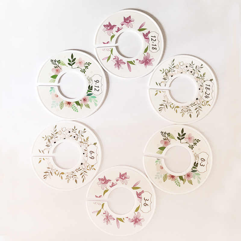 6Pcs Flower Round Child Clothes Size Dividers Plastic Ring Size Label Supply j$