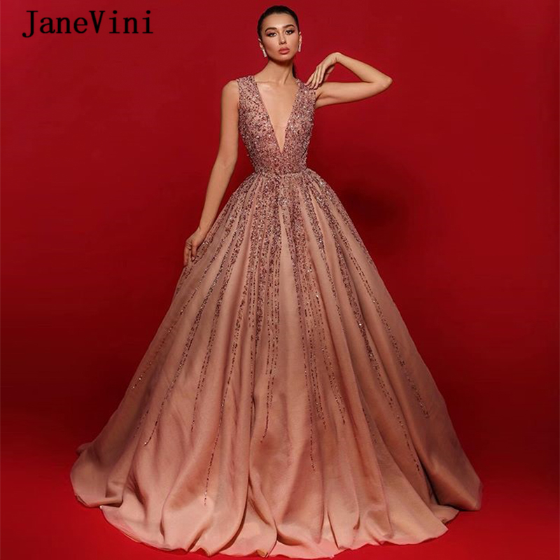 JaneVini Sexy V Neck Sleeveless Long Evening Dresses Luxury Heavy Beading Crystal A Line Floor Length Organza Women Dinner Gown