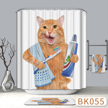 Cute Shower Curtains Mischievous Cat Series Shower Curtains Bath Curtain Polyester Waterproof Bathroom Curtain red beach shower curtain in bathroom waterproof bath curtains 3d coconut palm seascape douchegordijn landschap nordic