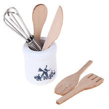 1:12 drewniany nóż i widelec metalowy zestaw słoików miniaturowe akcesoria do domku dla lalek akcesoria domek dla lalek Mini akcesoria kuchenne