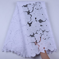 African Cord Lace High Quality French Lace Fabric white Embroidery African stone Lace Fabric For Nigerian the top Wedding dress