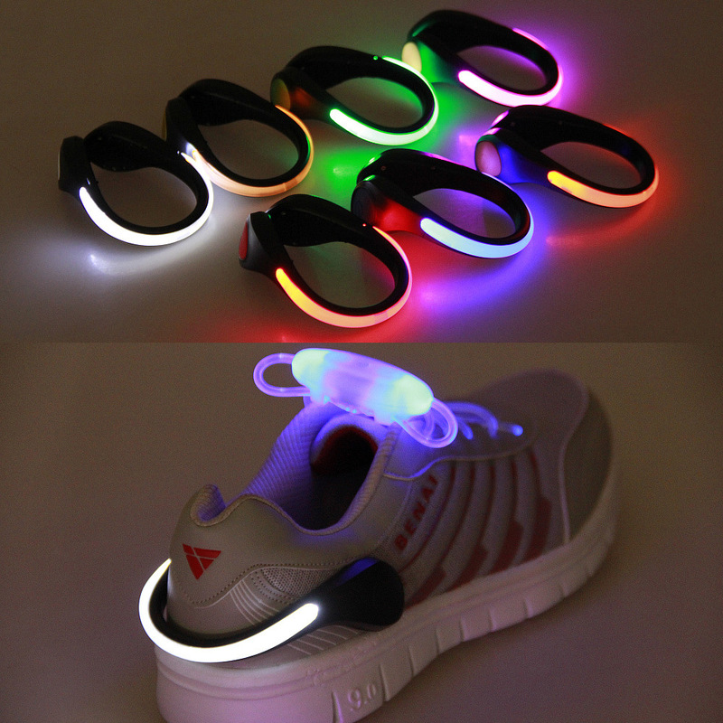 1 Pcs Useful Outdoor Tool LED Luminous Shoe Clip Light Night Safety Warning LED Bright Flash Light For Running Cycling