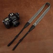 Cam in 8197 cinta de câmera de ombro pescoço, cordão de fibra de algodão macio, cinto digital slr de moda, couro de gado para sony