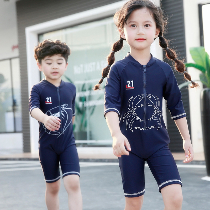 Momasong New Style Boys' Cotton One-piece Swimsuit Shrimp Soldiers And Crab Generals Brothers Sailor Swimwear Sun-resistant Quic