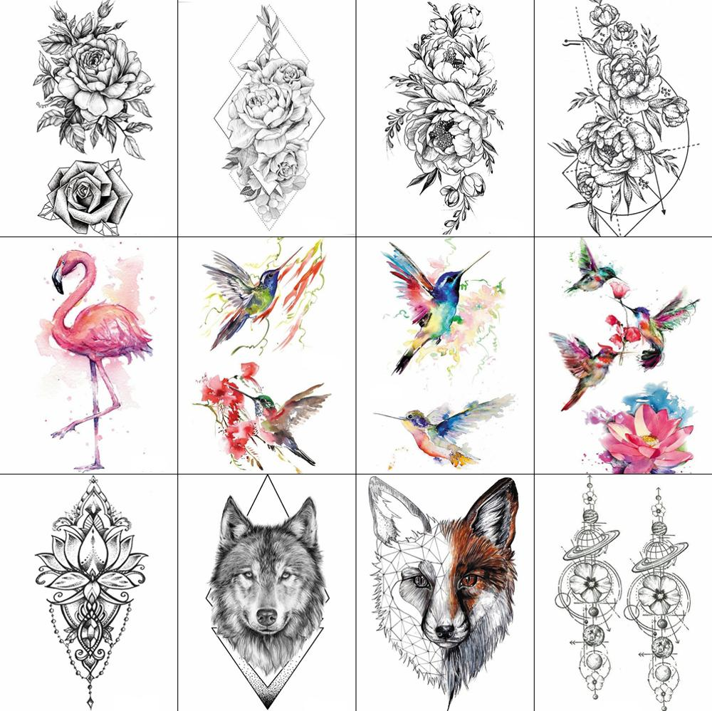 3D Watercolor Temporary Tattoo Birds Women Hands Arm Tattoo Stickers Hummingbird Flash Girls Body Cosmetic Waterproof Tatoos DIY