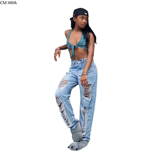 2020 Summer Denim Pants Women Retro Solid Sexy Hole Jeans Ripped Pencil Trousers Street Loose High Waist Lady Pants GL0049