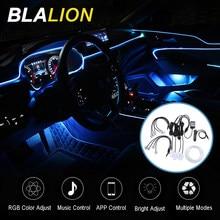Tira de luz ambiente de coche, luz para EL pie, EL cable de neón, luz Interior de Ambiente de coche, aplicación de Control de sonido, retroiluminación automática