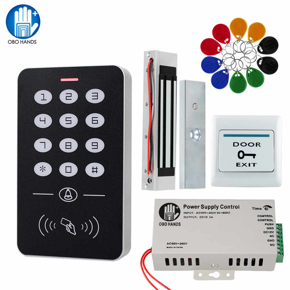 Obo Tangan Pintu Akses Kontrol Sistem Kit RFID Keypad + Power Supply + Electric 180Kg Magnetic Lock Strike Door kunci untuk Rumah