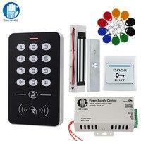 Obo mãos porta sistema de controle acesso kit rfid teclado + fonte alimentação elétrica 180 kg fechadura magnética greve fechaduras da porta para casa|Kits de controle de acesso| |  -