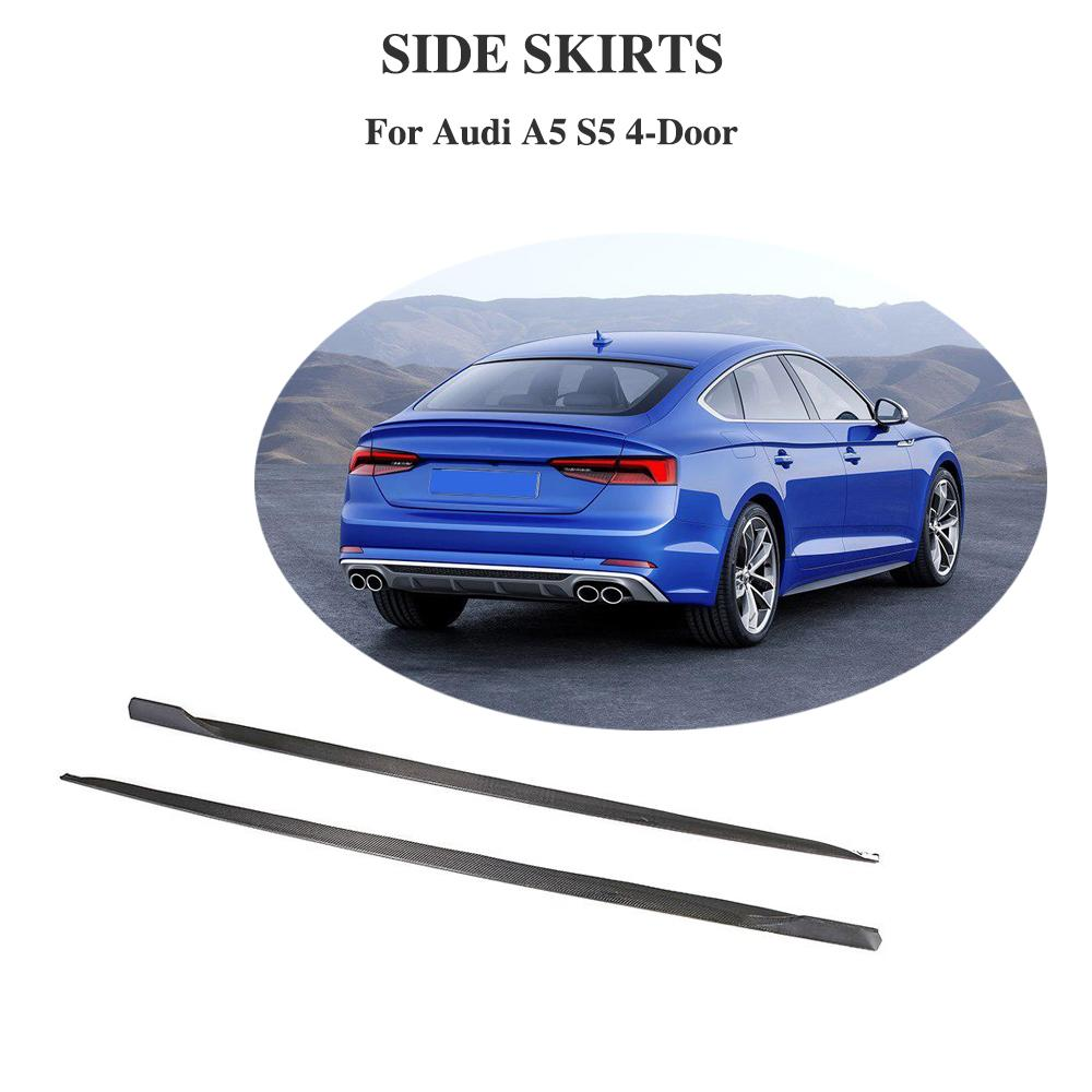 Carbon Fiber Auto Car Side Skirts Extension Lip Apron Side Body Kits for Audi A5 Sline S5 4 Door 2018 2019|Bumpers| |  - title=
