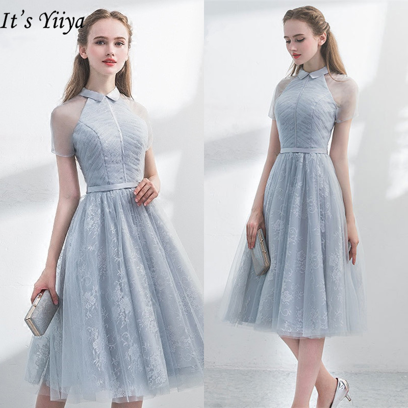 It's YiiYa Cocktail Gowns 2019 Elegant Short Sleeve Embroidery A-line Knee Length Dresses Lace Zipper Slim Formal Dress LX403