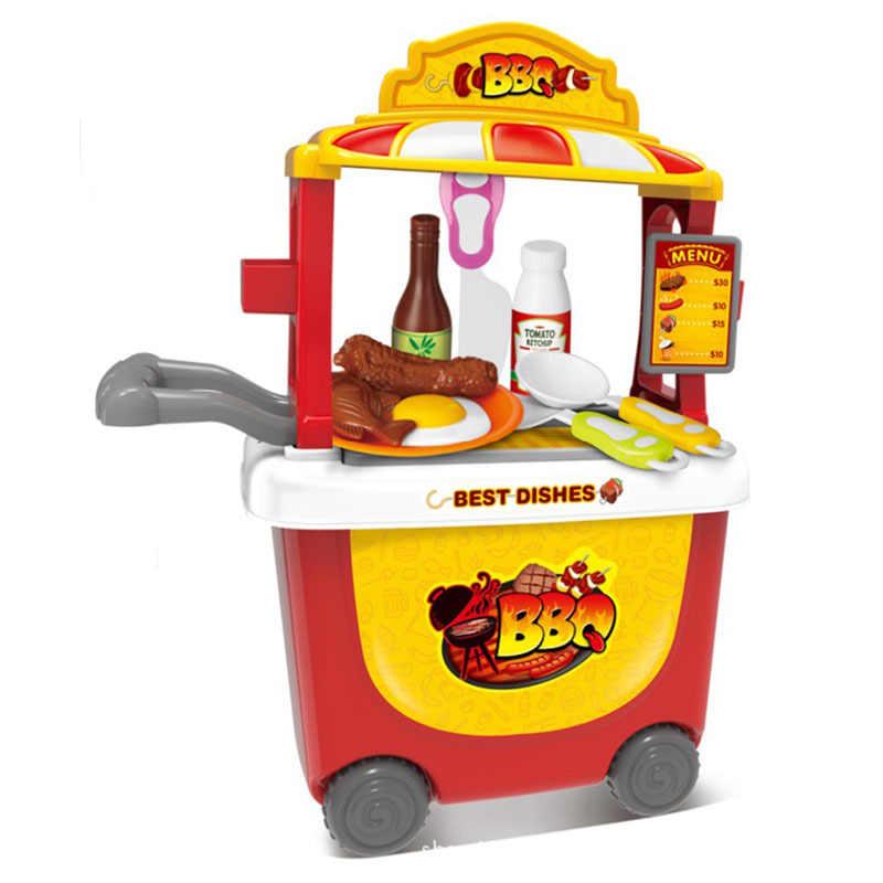Los niños juegan casa carrito de supermercado juguete cocina helado juego de alimentos carrito barbacoa coche de juguete