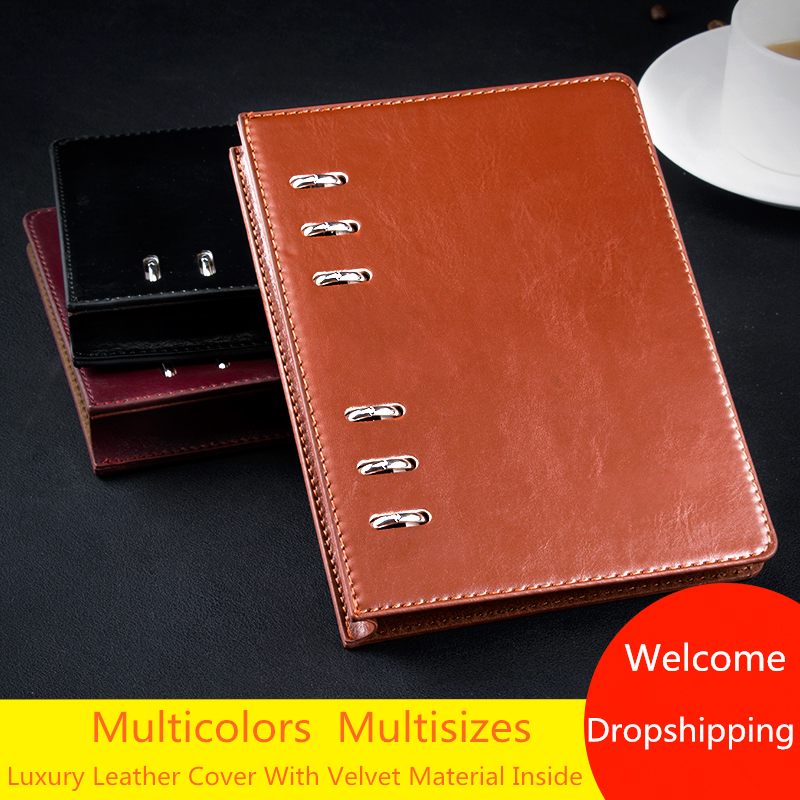 A5 A6 Brown Leather Hardcover Executive Journal Notebooks Ring Binder Custom Logo Diary Organizer Planner With Velvet Inside