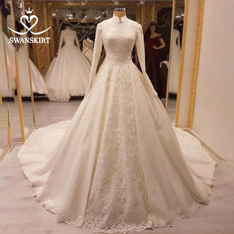 Luxury Muslim Beaded Appliques Wedding Dress Swanskirt AZ02 Vintage Long Sleeve Princess Ball Gown Bridal Gown Vestido De Noiva