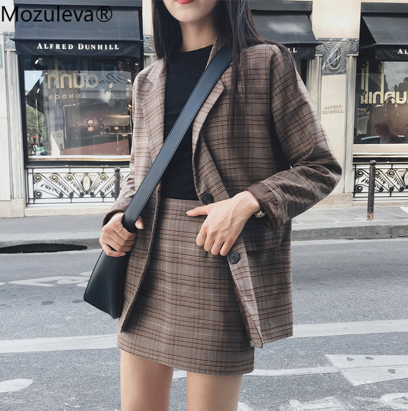 Mozuleva 2019 Retro Plaid Blazer Set Single-breasted Jacket & Pencil Skirt 2 Pieces Skirt Suit Female Office Ladies Blazer Suit