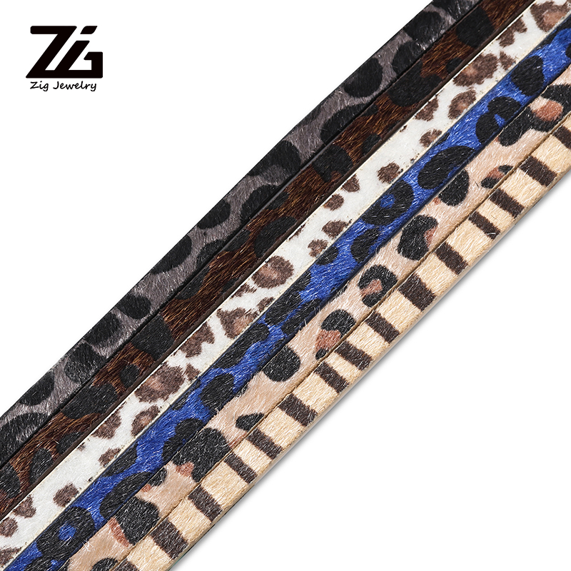 ZG 1.2m 7mm Leopard Leather Bracelet Necklace Making Materials DIY Jewelry Leather Rope Handmade Jewelry Discovery