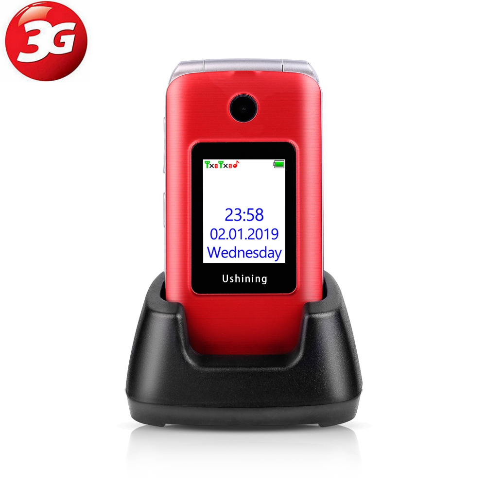 Ushining 3G Mobile Flip Phone Feature Phone Dual Screen Dual SIM Red 3G Unlocked Senior Phones, Big Button Easy-to-Use Phone image