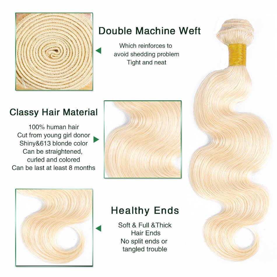 Liddy 613 blond wiązki z frontalnym malezyjskim ciałem fala z koronkowym czołem nie remy włosy ludzkie w kolorze blond koronka Frontal z pakietem