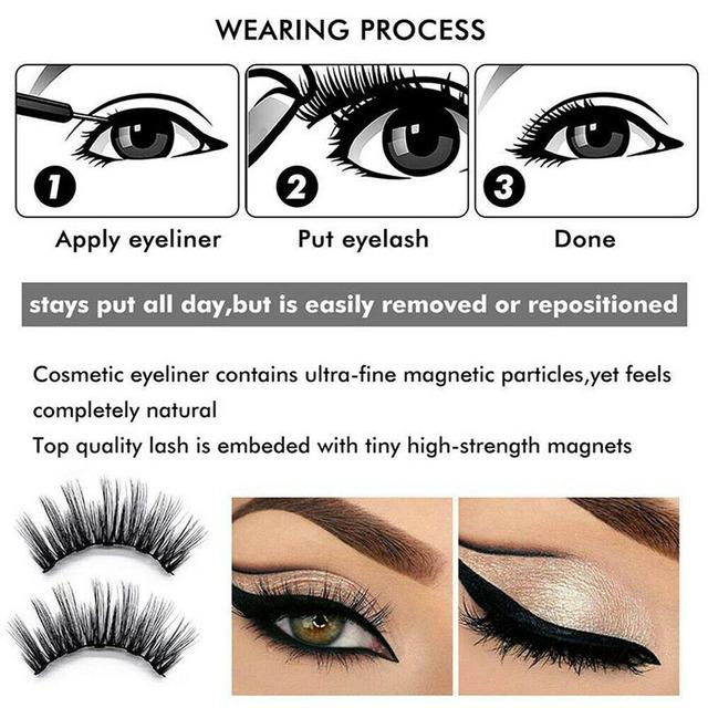 Magnetic Liquid Eyeliner with False Eyelashes Reusable Lashes for Women Lady LDO99