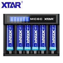 XTAR MC6C 배터리 충전기 스마트 LCD 충전기 5V 3A USB 케이블 DC 입력 TC CC CV 충전 3.6V 3.7V 리튬 이온 18650 배터리 충전기