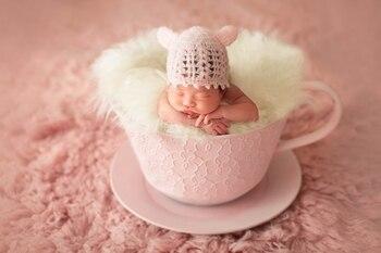 Детская фотография Реквизит железная корзина чайная чашка Fotografia аксессуары Infantil для малышей студия съемки реквизит для фотосъемки подарок