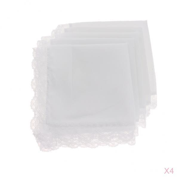 Wedding Bridal Handkerchief Crochet Lace Brim - Pack Of 20 Pieces - Cotton Hankies Pocket Square For Men Women