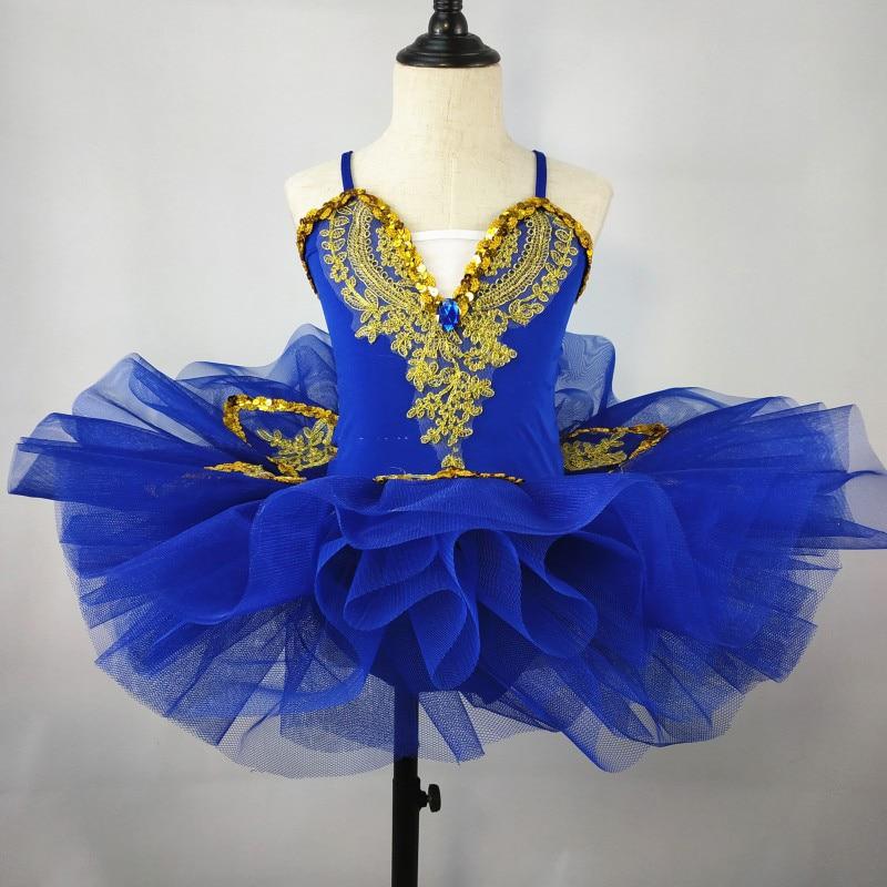 Новая детская одежда для выступлений пышная вуаль, расшитая блестками газовая юбка Детский костюм балетный костюм - Цвет: sapphire