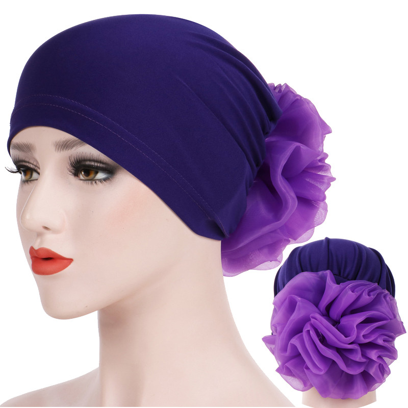 Muslim Women Head Scarf Turban Solid Cotton Flowers Inner Caps For Hijab Femme Musulman India Wrap Head Bonnet Ready To Wear