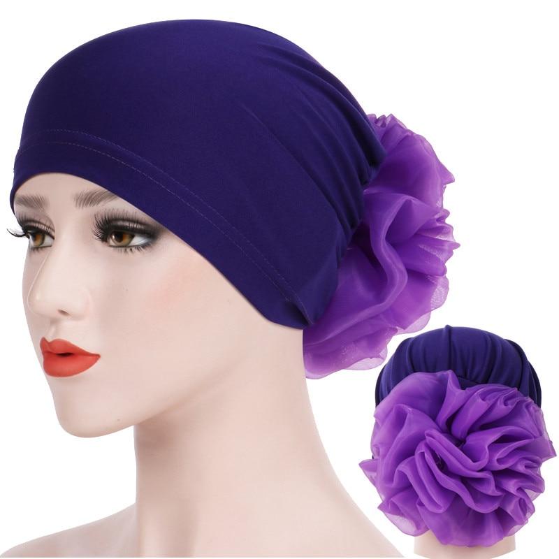 Muslim Women Head Scarf Turban Solid Cotton Flowers Inner Caps For Hijab Femme Musulman India Wrap Head Bonnet Ready To Wear