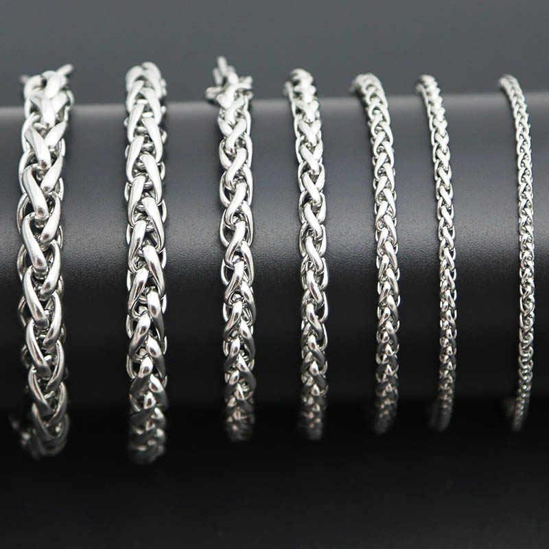Модный браслет из цепочки 316L браслет из нержавеющей стали 3 мм 4 мм 5 мм 6 мм 7 мм 8 мм браслет для мужчин и женщин