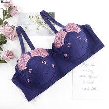Beauwear с цветочной вышивкой для девочек; Спортивный Бюстгальтер Для девочек переходного Для женщин 85C 90C 95C 100C 105C 110C размера плюс без подкладки ...