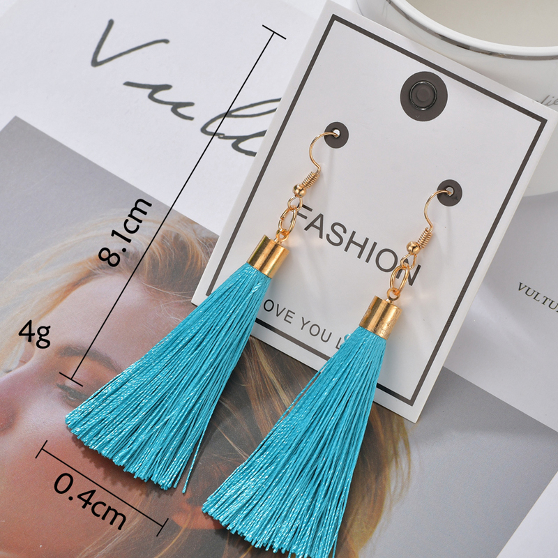 H8716921c5bbe4c09a54054f7c19fe44eA - Bohemian Heart Tassel Long Drop Earrings BOHO Pink Blue Silk Fabric Design Dangle Earrings For Women Jewelry Gift Christmas