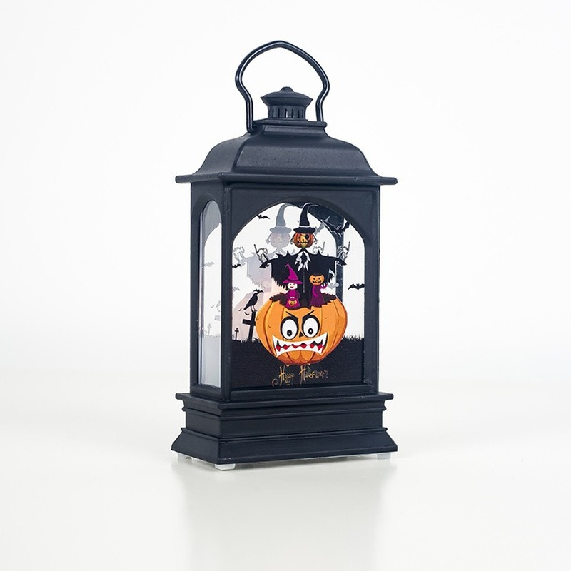 2019 Halloween Vintage Pumpkin Castle LED Painted Light Hanging Wind Light Portable Hanging Lantern Party Supplies in Lanterns from Home Garden