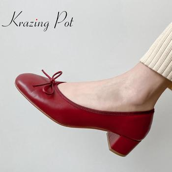 Krazing pot 2020 new full grain leather square toe med heel butterfly-knot sweet girls slip on leisure dating spring shoes L02