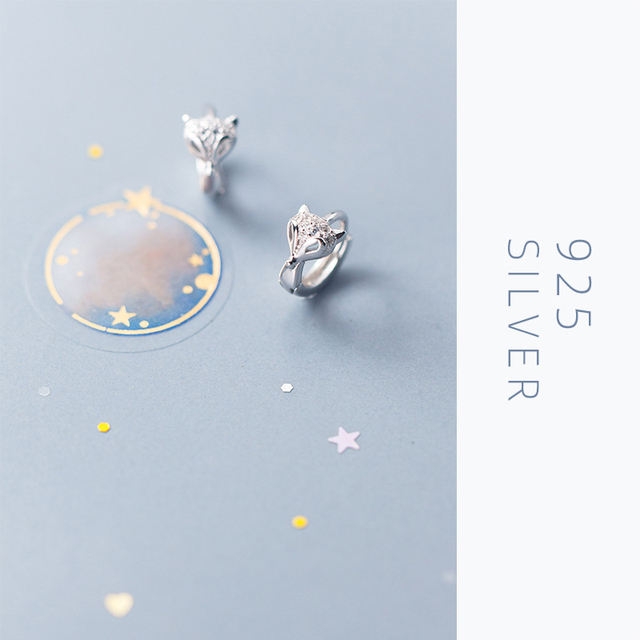 bamoer Real 925 Sterling Silver Fox Animal Hoop Earrings for Women Dazzling Clear CZ Fashion Fine Jewelry Female Accessories