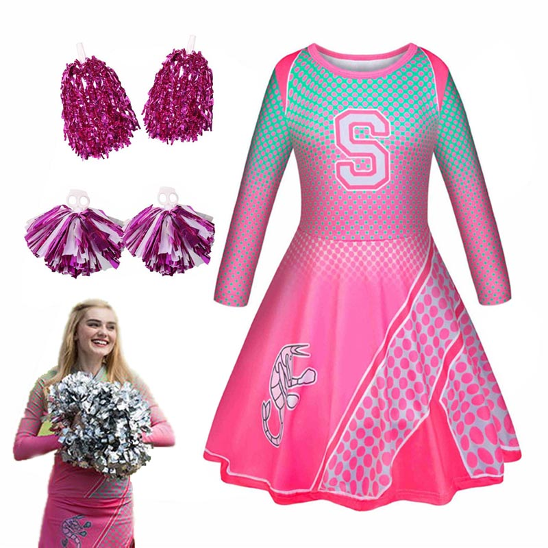 Fashion Zombies 2 Addison Cosplay Halloween Costumes for Girls Cheerleader Kids Princess Dress with Flower Ball Party Clothing