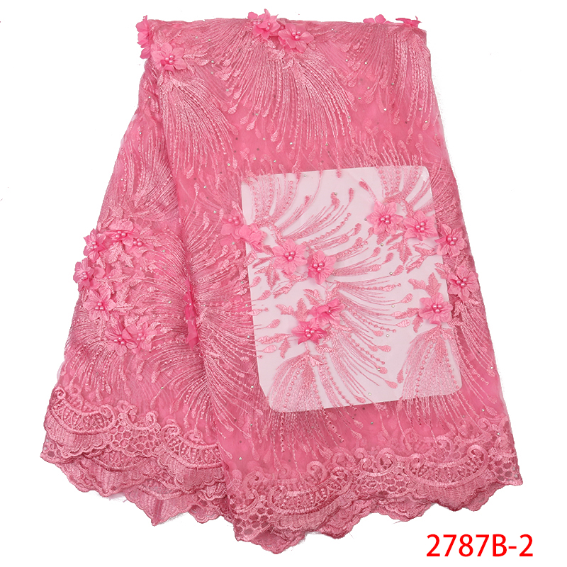 Pink African Lace Fabric High Quality 3D Flower French Fabric Lace With Stones Nigerian Embroidery Tulle Laces KS2787B-2