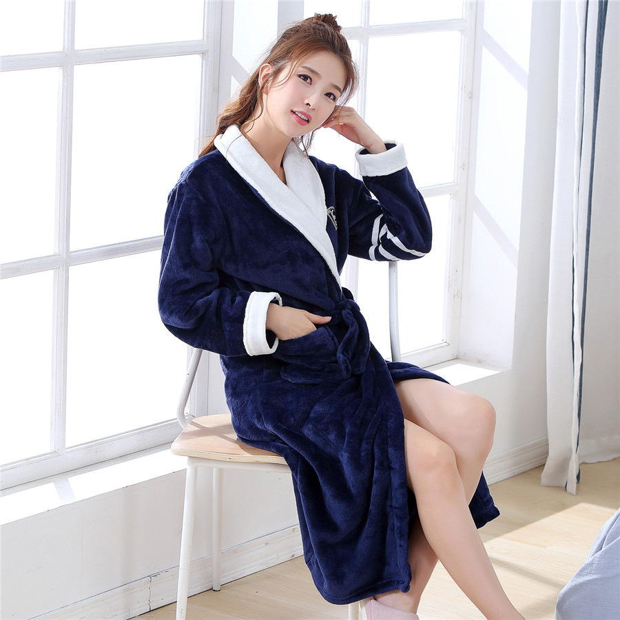 Large Size 3XL Loose Kimono Gown Long Sleeve Sleepwear Sexy Casual Thickn Home Clothes Navy Blue Women Robe Winter Warm Bathrobe