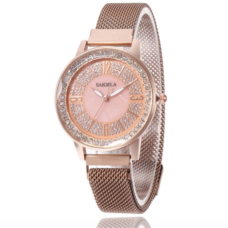 Fashion Magnet Watch For Women Luxury Ladies Wrist Watches Quartz Female Watches Round Clock Crystal Watch Party Dress Gifts