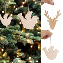 Creative Carving Wood Christmas Tree Pendants Burlap Ropes Unfinished Wooden Slices Crafts Hanging Ornaments Home Decoration