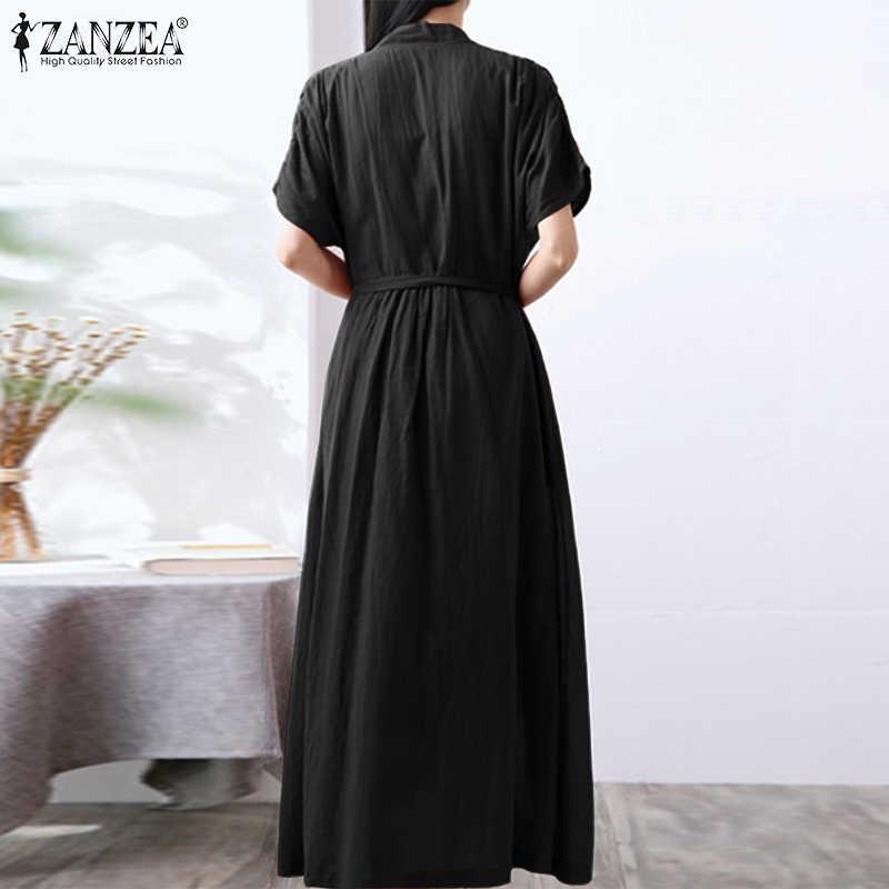 5XL Katoen Zonnejurk Zanzea Vrouwen Korte Mouw Sexy V-hals Enkel Lange Lace Up Jurk Dames Pockets Solid Maxi elegant Robe 7