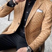 Suit Jacket Coat Printed Blazer Business Wedding British-Style Casual Masculino Streetwear