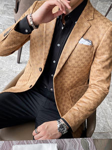 Suit Jacket Blazer Coat Streetwear Wedding British-Style Business Casual Printed Masculino