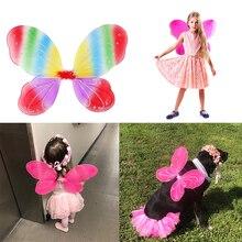 Девочки бабочка фея и ангел крылья для детей для сада вечеринок дня рождения сувениры Хэллоуин костюмы одежда аксессуары