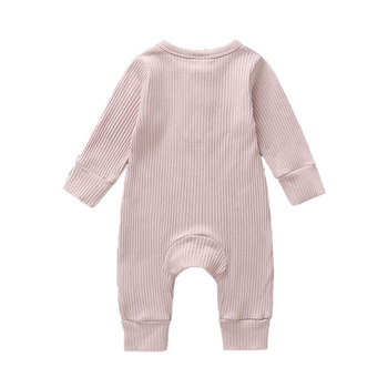 Baby's Ribbed Fabric Long Sleeve Romper 2