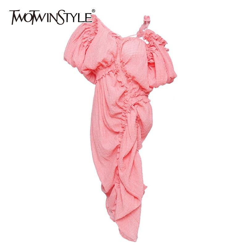 TWOTWINSTYLE Elegant Irregular Dress Women Asymmetrical Collar Lantern Half Sleeve High Waist Drawstring Dresses Female Clothes