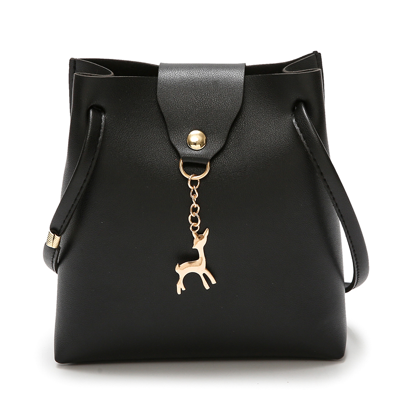 PU Leather Women's Crossbody Bag Deer Pendant Women's Shoulder Bags Female Small Messenger Bag Handbag Wallet Change Pouch