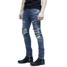 Fashion Streetwear Men Jeans Top Quality Brand Designer Destroyed Ripped Jeans Men Denim Punk Pants Elastic Hip Hop Skinny Jeans цена 2017