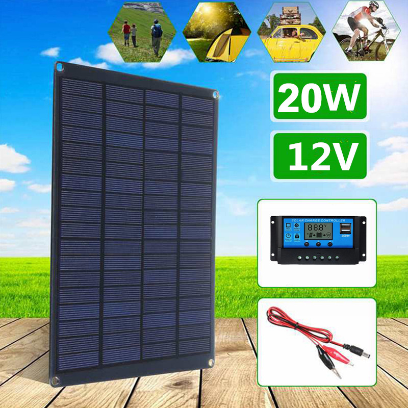 Солнечная панель 20 Вт с зажимом для аккумулятора и 20 А контроллером, 18 в, монокристаллические солнечные элементы, уличное зарядное устройст...
